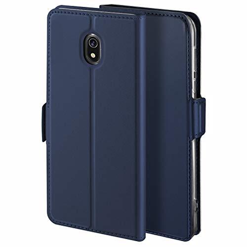 HoneyHülle für Handyhülle Xiaomi Redmi 8A Hülle Leder Premium Tasche Hülle für Xiaomi Redmi 8A, Schutzhüllen aus Klappetui mit Kreditkartenhaltern, Ständer, Magnetverschluss, Blau