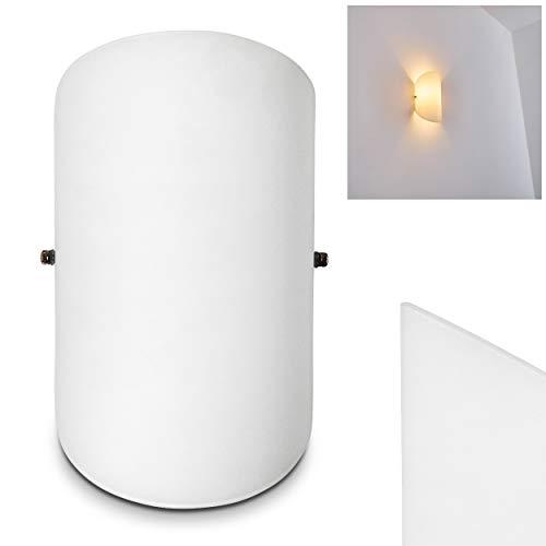 Wandlampe Teramo aus Glas in Weiß, moderne Wandleuchte mit Lichtspiel an der Wand, 1 x E14 max. 40 Watt, Innenwandleuchte mit Up & Down-Effekt, geeignet für LED Leuchtmittel