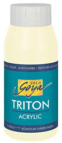 Kreul 17034 - Solo Goya Triton Acrylfarbe elfenbein, 750 ml Flasche, schnell und matt trocknend, Farbe auf Wasserbasis, in Studioqualität, vielseitig einsetzbar, gut deckend und ergiebig