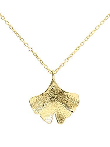 Ginko Blatt Halskette Kette Collier Gelbgold 375 Gold (9 Karat) 45cm Baum Ginkoblatt Damenkette Goldkette Ginko K-01090-G601-AK10-F45cm