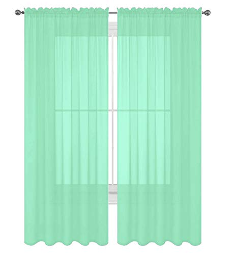 """Luxury Discounts 2 PC Solid Rod Pocket Sheer Window Curtain Treatment Drape Voile Panels in Variety of Colors (55""""x84"""", Mint)"""