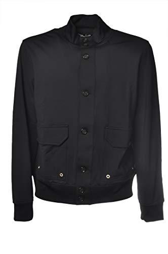 PAOLO PECORA Sweatshirt aus technischem Stoff mit sichtbaren Knöpfen E0714844 Gr., Schwarz XL