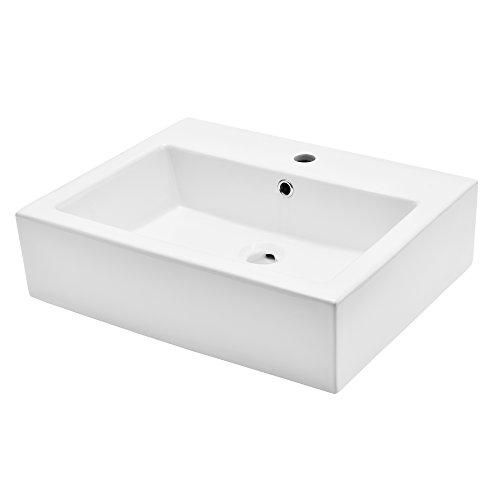 [Neu.Haus] Lavabo de cerámica Lujoso en Forma Rectangular - (57x44cm) Blanco - Lavabo sobre encimera - Montaje de Pared