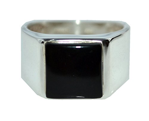 Gents Solid Sterling 925 Silver Black Onyx Mens Ring, Authentic Gemstone Signet Rings! Sizes M to Z+5 available (Q)