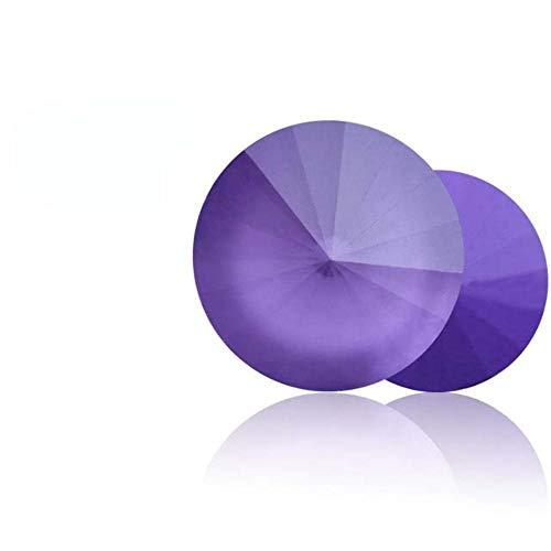 8-12mm Round Shape Mocha Rhinestones Pointback Rivoli Rhinestones 10mm Colorful Nail Glue Strass New Arrival Glass Crystals-Violet MK,8mm 10pcs