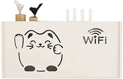 YZPTD Conjunto de televisión montado en la Pared Rack WiFi Caja de Almacenamiento enrutador inalámbrico WiFi Creativo Lucky Cat Decoración Estante Multimedia Caja Caja de Cubierta Blanco