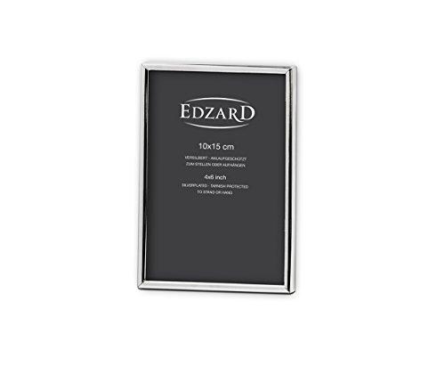 EDZARD Fotorahmen Bilderrahmen Genua für Foto 10 x 15 cm, edel versilbert, anlaufgeschützt, 2 Aufhänger