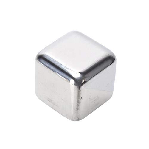 CandyTT Cubo de Hielo de Acero Inoxidable 304 Reutilizable Enfriador de Hielo de Piedra congelada para Jugo de Bebida de Vino de Whisky (silver1pcs)
