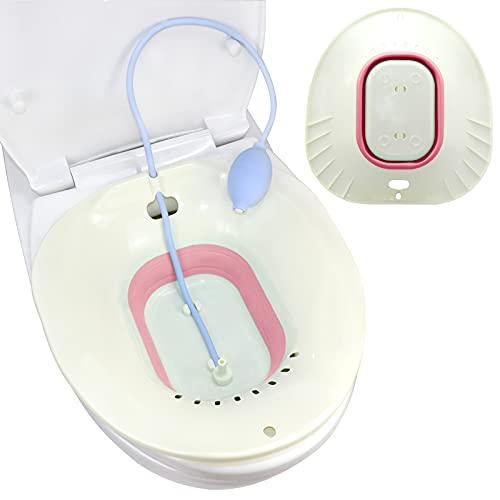 Faltbares Sitzbad für Toilette, Bidet einsatz für Toilette mit Flusher, Geschenke für Ihre Lieben - Heublumen Sitzbad Schwangerschaft, Sitzbadewanne Erwachsene, Sitz Bath, Sitzbad Hämorrhoiden (pink)