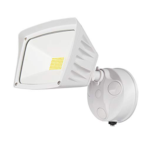 JJC Security Lights Outdoor Flood Light LED Dusk to Dawn Photocell Sensor Waterproof 28W(250W Equiv.)5000K-Daylight 3400LM DLC Certified&ETL-Listed White