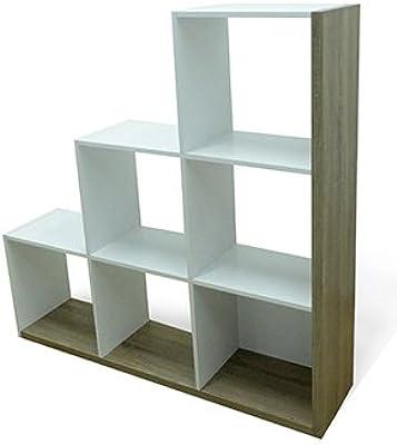 Abitti Estantería o librería en forma de escalera de diseño actual en color roble y blanco 126x128x29 cm