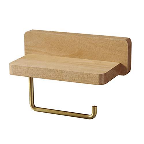 FLOX Support de rouleau de papier toilette en bois avec comptoir - pour salle de bain, cuisine, WC