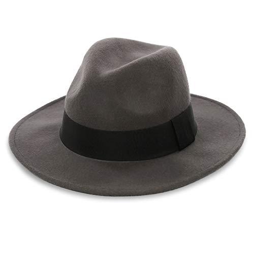 FORBUSITE Damen Herren Fedora Hut - 100% Australien Wolle - Grau Hut - Herrenhüte Winter - Große Krempe - Large