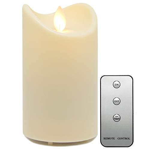 Tronje LED Outdoor Kerze - 13cm Stumpenkerze Creme-Weiß mit Timer u. Fernbedienung - bewegliche Flamme - IP44 UV Hitzebeständig