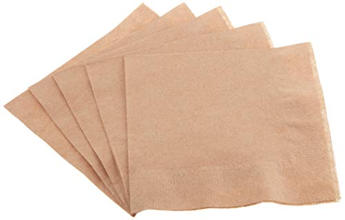 Amazon Basics Kraft Beverage Napkin, 100% Recycled, 1-Ply, 1000-Count - 957014