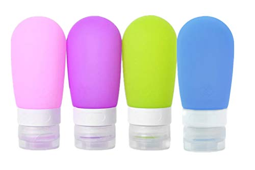 Perfecbuty 4PCS 80ML Portable Travel Silikon Set, BPA-frei und TSA genehmigt Auslaufsicher Reisebehälter, für Shampoo, Spülung, Duschgel, Lotion, etc, Toilettenartikel & Körperpflege