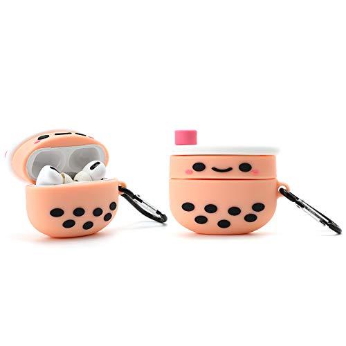 Awin Case Boba Tea Case for Airpods Pro Case,3D Cute Cartoon Food case,3D Kawaii Kids Teens Girls Women Boba Bubble Tea Soft Silicone case for Airpods Pro/Airpods 3 Case 2019 (Boba Bubble Tea)