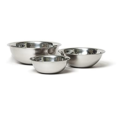 Vollrath Economy Mixing Bowl Set (1-1/2, 3 & 5-Quart, Stainless Steel)