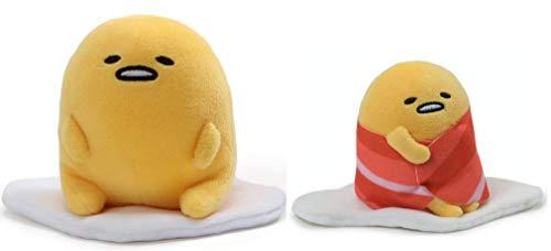 GUND Gudetama Lazy Egg Plush Bundle of 2, Sitting and Bacon Wrapped