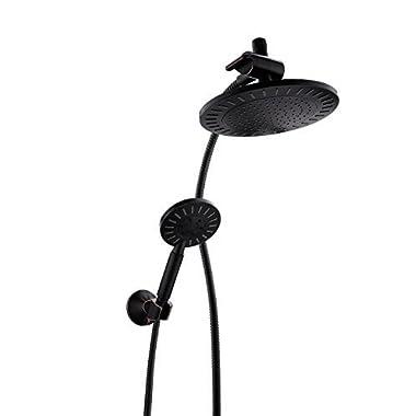Bright Showers Overhead Rain Showerhead & Handheld Shower Head Combination Set - Includes Wall Mount Suction Bracket, 3-Way Water Diverter Mount, 5 ft. Shower Hose (Oil Rubbed Bronze)