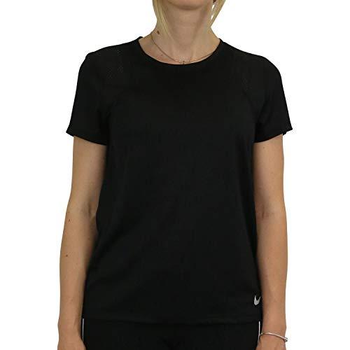 NIKE W NK Run Top SS Camiseta de Manga Corta, Mujer, Black/Black/Reflective silv, L