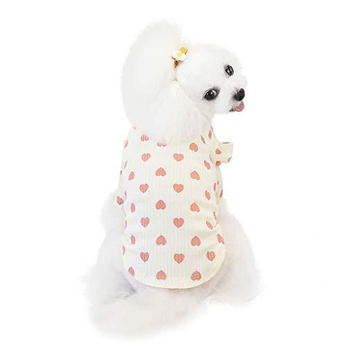 Coversolat Hundekleidung Klein Hunde Sweater mit Herz Motiv Shirt Winter Pyjama Hundepullover für Chihuahua Französische Bulldogge