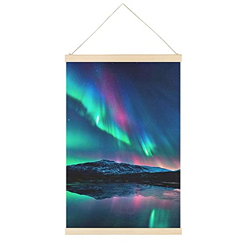 Aurora Boreal - Marco de póster cuadrado para colgar en el hogar, 40,6 x 60,9 cm