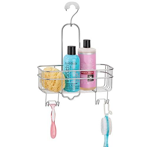 mDesign Comodo portaoggetti doccia senza foratura – Portasapone e bagnoschiuma con 4 ganci per appendere accessori doccia – argento