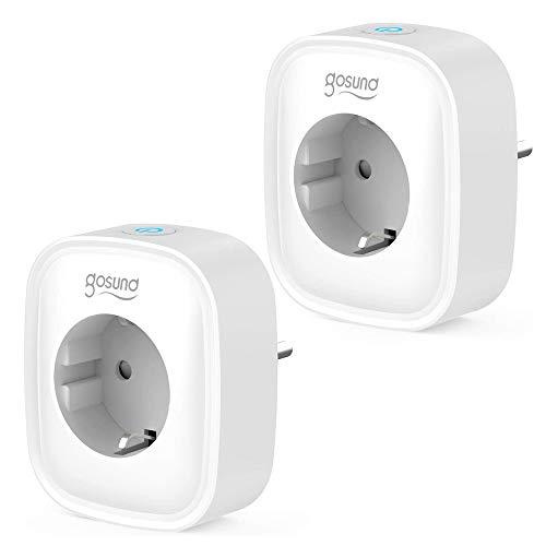 Gosund Wlan Smart Steckdose 2er Pack, Alexa Stecker Smart Home Plugs 16A Stromverbrauch messen Timer Funktion Fernsteurung Steckdose ohne Hub benötig Arbeiten mit Alexa Google Home, Nur 2.4 GHz
