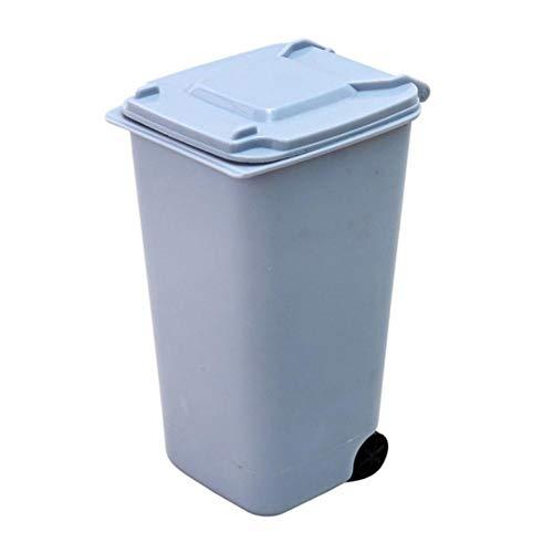 1pcs 4 colores Creative Wheelie Mini cubo de basura de escritorio Cubo de plástico Cubo de basura Mini cubos de basura Tijeras pequeñas Lápiz Vaso Gobernantes-Azul, Estados Unidos