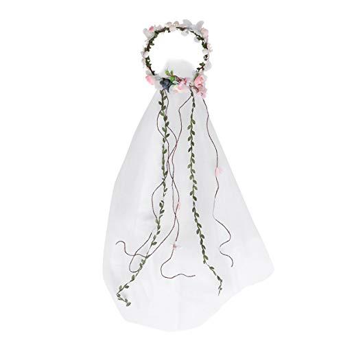 Lurrose flor nupcial ajustable guirnalda diadema flor pelo corona con velos Accesorios para el cabello para la novia niñas mujeres