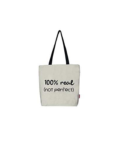 Hello-Bags Bolso Tote, Algodón 100%, con Cremallera, Forro y Bolsillo Interior, Incluye sobre Kraft de Regalo, Blanco, 37 x 38 cm + (asa: 28 cm)