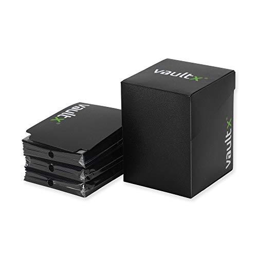 Vault X Sammelkarten Box für 100+ Karten mit 150 Schwarze Kartenhüllen - ohne PVC Deck Box für Spielkarten zum Sammeln und Tauschen (Schwarz)