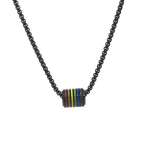 TONGS LGBT - Collar de homosexual con colgante cilíndrico, de acero inoxidable, color negro, 60 cm