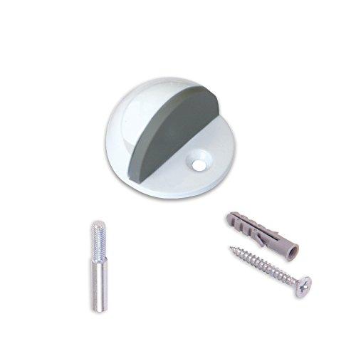 BRINOX Butée de Porte avec Pivot et vis, Voir Description, laqué Blanc, 2.5 x 4.4 x 4.4 cm