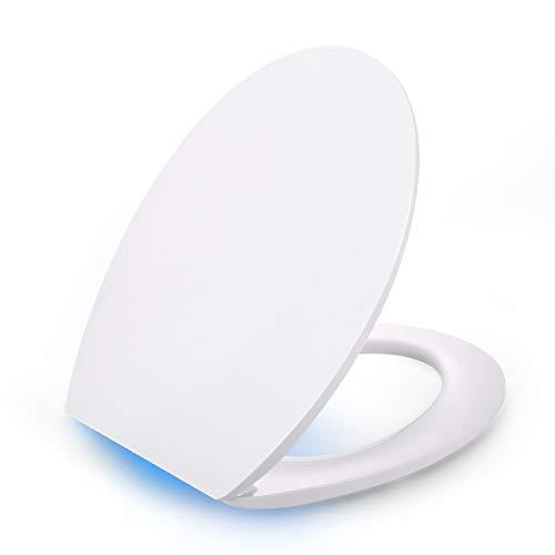 Sedile WC con Illuminazione a LED, Dalmo Copriwater Universale Illuminazione a Comando Vocale Formaldeide Urea con Chiusura Ammortizzata, Tavoletta WC Facile da Installare e da Pulire