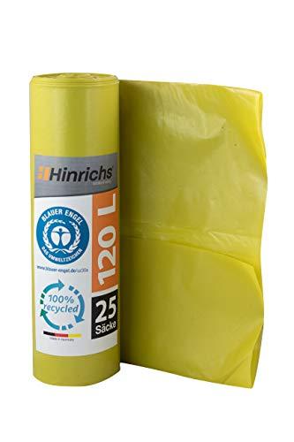 Hinrichs 120 L Müllsäcke - extrem reißfest - 25er Rolle - Abfallsäcke XXL - 70 μ - 700x1100 mm - LDPE - perfekte Müllentsorgung für Haushalt Baustelle - Blauer Engel Zertifiziert