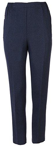 FASHION YOU WANT Damen Seniorenhose Schlupfhose mit Gummizug Kurzgröße ideal für pflegebedürftige Omas einfach anzuziehen und super pflegeleicht (50/52, blau meliert)