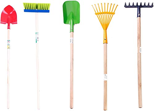 Mediablue Kinder Gartengeräte Set 5 teilig, Besen Harke Spaten Rechen Schüppe Garten Geräte Spielzeug