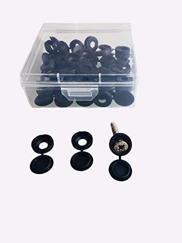 Nalunox-Cubre Tornillos de Plástico Negro-Cubierta Plástico para Tornillos- Tapa para Tornillos con Caja Almacenamiento- Para Tornillos M4-40 unidades