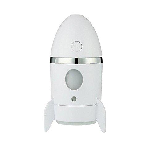 Mini Aire Humidificador,niceEshop(TM) Forma de Cohete Humidificador Aire Purificador con El Cambio de Color de Luz Nocturna para los Coches de Oficinas en El Hogar,Blanco