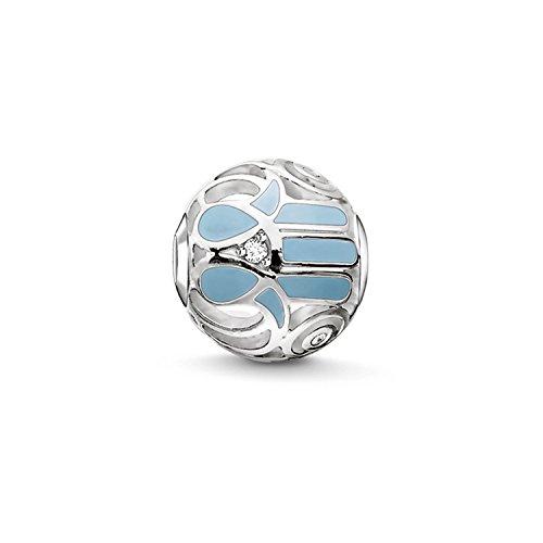 Thomas Sabo Damen-Bead Fatimas Hand Karma Beads 925 Sterling Silber blau Zirkonia weiß K0208-041-31