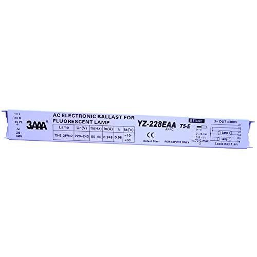 3AAA YZ-228EAA - Balastos electrónicos para lámparas fluorescentes T5-E 2 x 28 W, lámpara fluorescente para acuario, balastro electrónico AC 220-240 V 50/60 Hz CE CCC