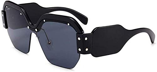 ZYIZEE Gafas de Sol Gafas de Sol cuadradas de Medio Marco a la Moda para Mujer Gafas de Sol cuadradas para Hombre Azules integradas Lentes tintadas Uv400-Bgray