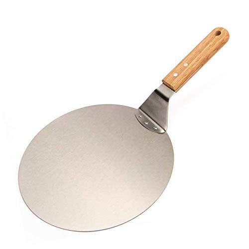 Kjdm Pizzaschieber aus Edelstahl, rund, Backwerkzeug mit Holzgriff zum Backen von Pizza, Kuchen auf Pizzastein und in Ofen und Grill.