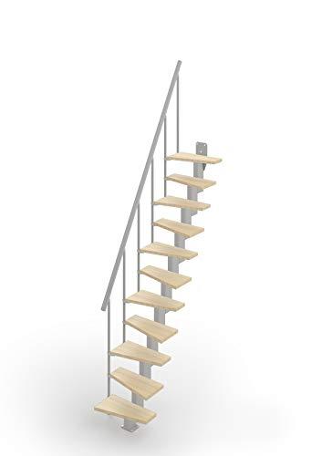 Scala Mister Step SMALL salvaspazio Rettilinea 11 Gradini H 240-284 cm. betulla - grigio argento