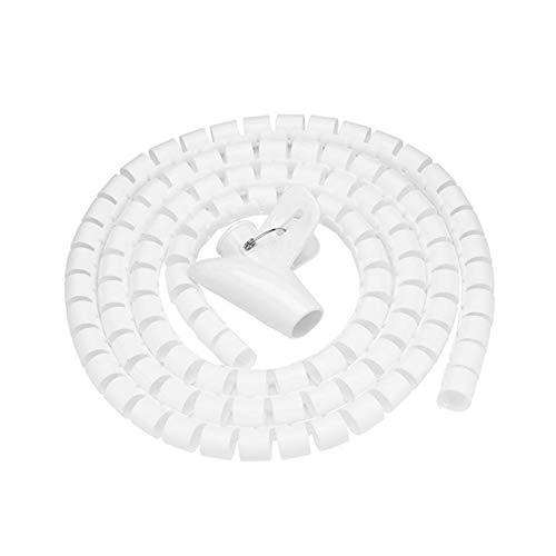 Kabelschlauch mit Spiralbindung, zuschneidbar, flexibel, Kabelkanal, Kabelschutz, Kabel-Organizer für TV, PC, Draht-Verwaltung und Organisation (20 mm, weiß)