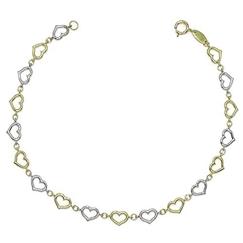Pulsera de oro amarillo y oro blanco para mujer de eslabones de corazón calados, de 19.00cm de larga y 5mm de ancha. Cierre mosquetón. Peso, 2.90 gr de oro de 18K.