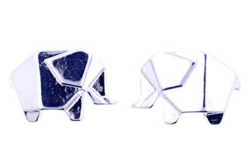 Lizzyoftheflowers - Mooie en schattige, zilveren olifant oorknopjes. Origami, vouwpapier stijl