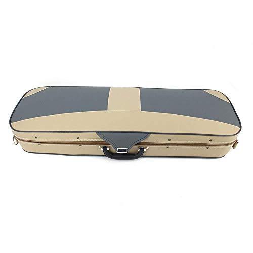aixinViolino custodia in pelle PU hard box violino hard box borsa igrometro maniglia leggero portatile tasca chiusura zaino tracolla beige full size-4/4_Beige